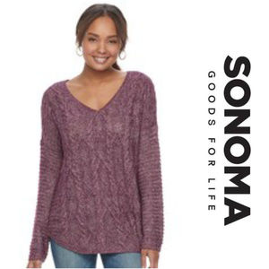 SONOMA Cable Knit V-Neck Sweater Fuschia XL